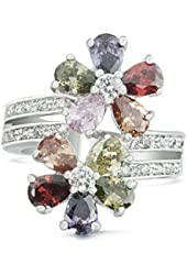JanKuo Jewelry Rhodium Plated Multicolored Cubic Zirconia Flowers Ring