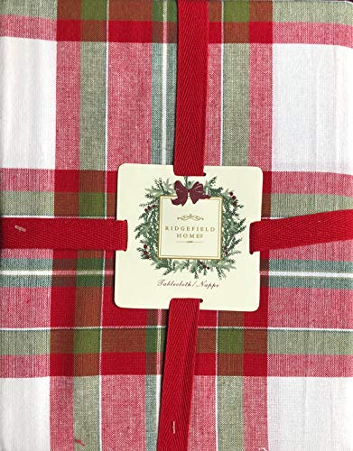 - Ridgefield Home Fabric Cotton Christmas Holiday Scottish Plaid Tartan Pattern Tablecloth Shades of Red White Green 60 Inches by 102 Inches