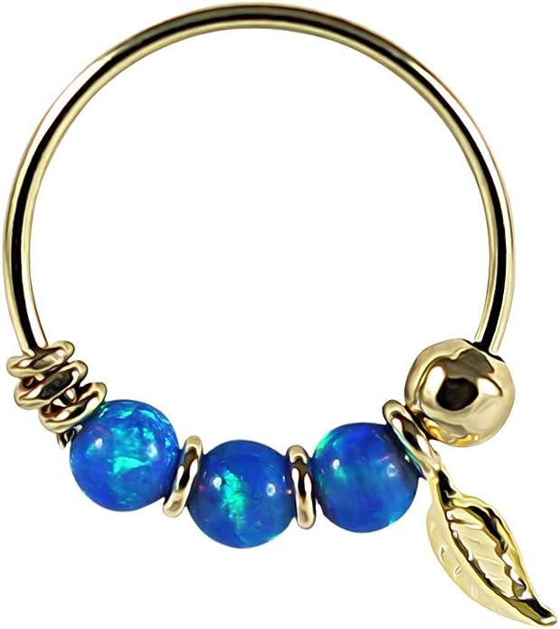 9K Solid Gelb Gold Triple Opal Bead mit Blatt 22 Gauge Hoop Nase Piercing Ring Schmuck