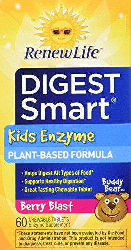 Digest Chewables (Renew Life - Digest Smart Kids Enzyme - digestive support - plant-based enzyme - 60 chewable Berry flavor tablets)
