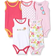 Luvable Friends Baby Infant 5-Pack Lightweight Sleeveless Bodysuits, Girl Sunglasses, 0-3 Months