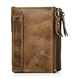 Vbiger Men Wallet Fashionable Dual Zipper Purse Genuine Leather Wallet Credit Card Holder Protector (Brown)