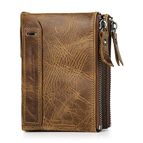 Vbiger Men Wallet Fashionable Dual Zipper Purse Genuine Leather Wallet Credit Card Holder Protector - Card Credit Vip