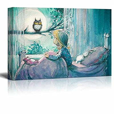 Marvelous Picture, Girl in Her Bed Looking at an Owl on a Tree in Watercolor Painting Style Wall Decor, Professional Creation