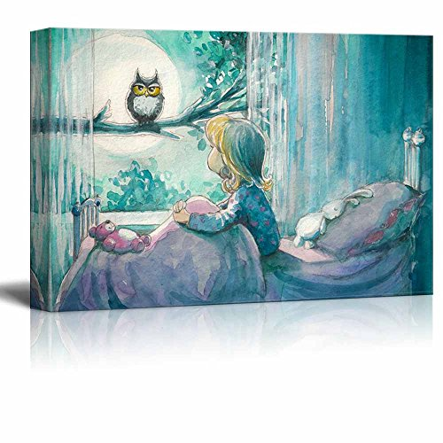 Girl in Her Bed Looking at an Owl on a Tree in Watercolor Painting Style Wall Decor ation