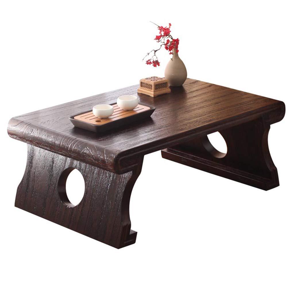 HSLXD.SMZZ Retro Tea Table Japanese-Style Balcony Bay Window Table Solid Wood Low Table Leisure Tea Table Furniture,905030CM by HSLXD.SMZZ