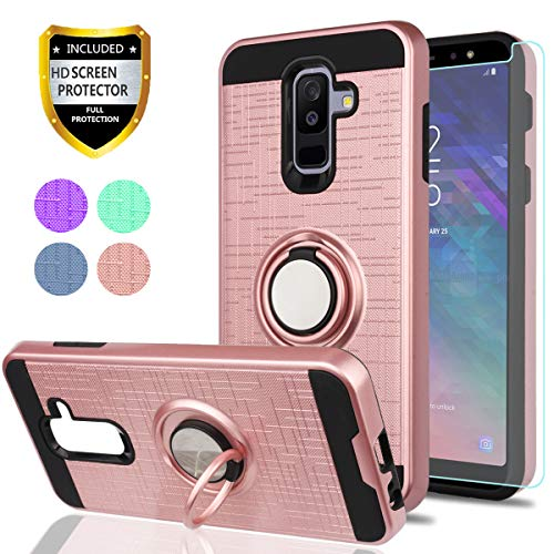 Samsung Galaxy A6 Plus 2018 Case with HD Phone Screen Protector,YmhxcY 360 Degree Rotating Ring & Bracket Dual Layer Resistant Back Cover for Samsung Galaxy A6+ 2018 (Not for Galaxy A6)-ZH Rose Gold