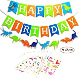 Oexper Dinosaur Happy Birthday Banner Dino Jungle Jurassic Garland and 18 Sheets Dinosaur Temporary Tattoos Cartoon Dino Stickers for Boy's Birthday Décor Kids Party Supplies Decorations Favors