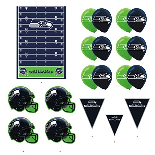 Seattle Seahawks Football Decorations: Wall Helmet Cutouts, Balloons, Pennant Banner & Table -
