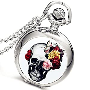 Lancardo Pocket Watch Halloween Gift Silver Skull Rose Antique Full Hunter Quartz White Dial Chain with Gift Bag
