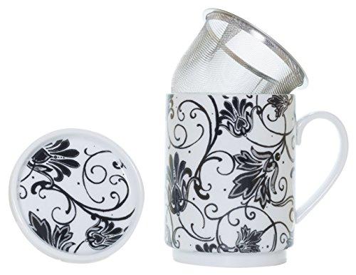 La Cija Paris Negro Tisana de Porcelana con Filtro de Acero Inoxidable, Blanco, 11x7 9x10 9 cm
