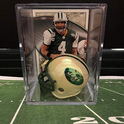 Helmet Brett Favre (Chrome Edition New York Jets NFL Helmet Shadowbox w/Brett Favre card)