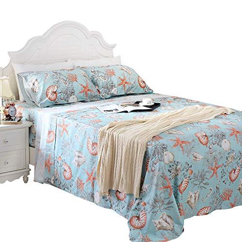 (Brandream Cal King Size Luxury Nautical Bedding Coastal Beach Themed Sheets Set 100% Cotton Bed Sheet Set Deep Pocket 4Pcs Fitted Sheet Flat Sheet Pillowcases Set 800TC)