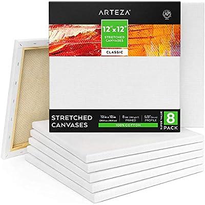 Arteza Lienzo para pintar cuadros | 30,5x30,5 cm | Pack de 8 | 100 ...