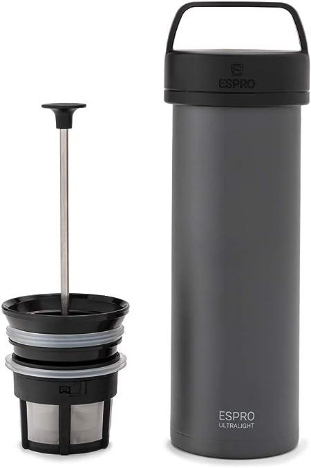 Espro Reise-French Press Ultralight - Mini cafetera con función térmica, café, acero inoxidable, para llevar (475 ml, acero inoxidable): Amazon.es: Hogar