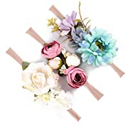 Baby Girls Headband Floral Crown Nylon Hair Band Newborn Toddler Photo Props (Ivory Purple Blue)