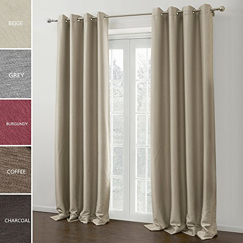 ChadMade Modern Solid Insulated Thermal Blackout Polyester Nickel Eyelet Grommet Top Curtain Drapes Panel Beige 72W x 63L Inch (1 Panel)