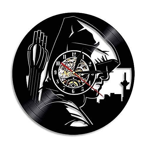 Price comparison product image HNCLO Vinyl Wall Clock Green Arrow Record 3D Design Clock Wall Art Deco Gift Diameter 30 cm