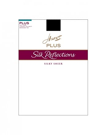 99034a7b88bc9 Hanes Plus Silk Reflections Sheer Control Top Enhanced Toe Hosiery (1 Plus  White)