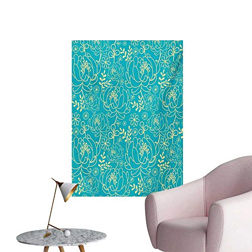 Anzhutwelve Yellow and Blue Wallpaper Classic Floral Twig Leaves Blooms Petals Essence Flowers DesignTurquoise Pale Yellow W32 xL48 Wall Poster
