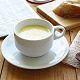 K'sキッチン アウトレット スタックスープカップお皿付き 180cc 白い食器重なる 日本製 小さめ スタッキングOK 業務用にも 5000円以上で送料無料