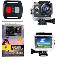 Action Camera YaeCCC 4K WiFi Waterproof Sports Action Camera HD 12MP Action Camcorder 170 Degree Sony Lens with 2-inch LCD Screen, 2 Rechargeable Li-ion Batteries 19pcs Accessories (Black)