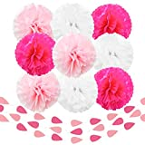 Beleheim Tissue Paper Pom Poms Pink Fuchsia White Set of 9 pcs 12'' and 3 pcs 6 ft Raindrop Garlands Decorations Baby Shower Nursery Birthday Party Sweet Sixteen Mother's Day Wedding Bridal Shower