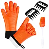 BBQ Oven Gloves - Heat Resistant Extra Forearm Protection, Including Shredder Claws and Silicone Basting Brush, Essential Tools Set for Grilling, Cooking and Baking