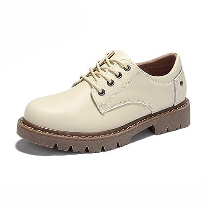 Zapatos para mujer HWF Zapatos de Cuero de Las Mujeres con Cordones de Estilo británico Zapatos