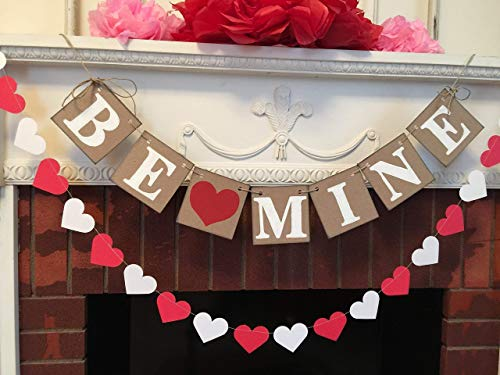Country Valentine's Day decorations - Be Mine Banner- Valentine's decorations- Valentine's Photo Props - Heart Banner -