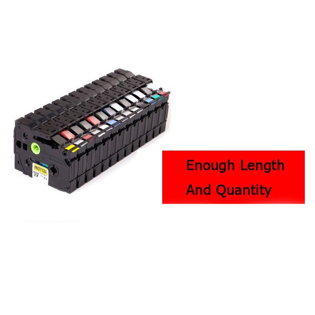Pack Nastri laminati Tze 231 tz231 tze231 Tape 12mm Neri su nastro laminato bianco tze-231 tz-231 per Brother P-touch Printer tape label TOOGOO 5 PZ