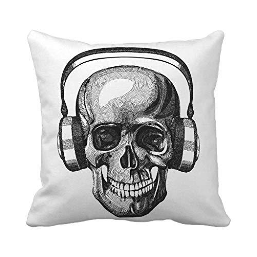Batmerry Halloween/Thanksgiving Theme Decorative Pillow Covers 18 x 18 inch, Dot Art Skull Black Classic Horror Human White Bone Throw Pillows Covers Sofa Cushion Cover Pillowcase Home Gift for $<!--$8.87-->