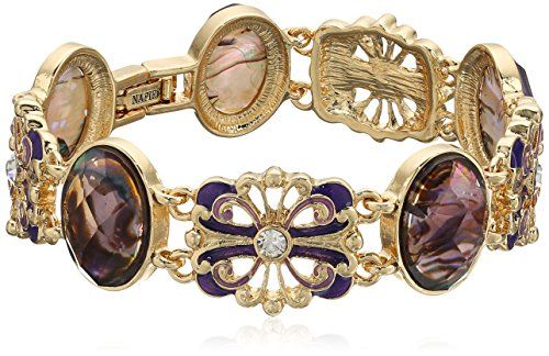 Napier Boxed Gold-Tone and Purple Petal - Napier Gold Bracelet Tone