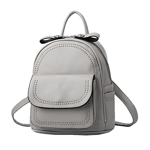 Women Mini Leather Backpack Rivet Pu Ladies Fashion College Backpack Laptop Bags Travel Backpack Gray