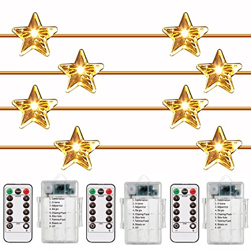 14' Rope (3 PACK,Outdoor Battery Operated String Lights,Star Shaped 8 Model Remote Dimmable Timer Waterproof 40 Leds,14Ft Rope Twinkling Fairy Lights for Bedroom,Garden Wedding Party Decoration by ADAINA)