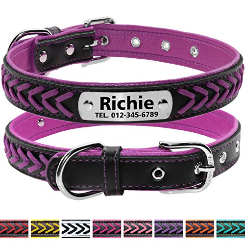 Vcalabashor Custom Leather Collar,Personalized Engraved Dog Collar with Stainless Steel On Collar Nameplate,Violet