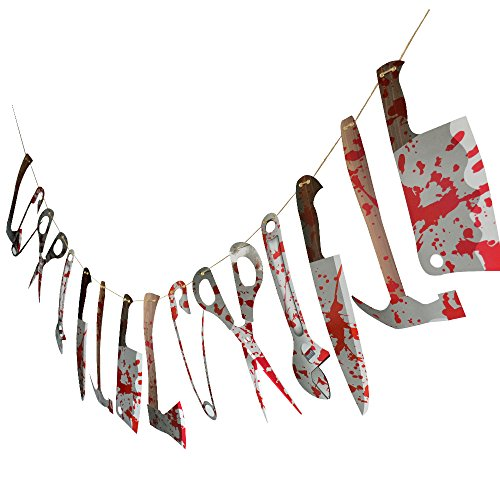 Halloween Scary Bloody Weapon Garland Banner for Decoration,Knife,Hammer,Shear by Halloween Scary Bloody Weapon Garland Banner for Decoration,Knife,Hammer,Shear by Friday -