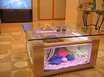 57 Gallon Square Coffee Table Aquarium Fish Ready With Light And