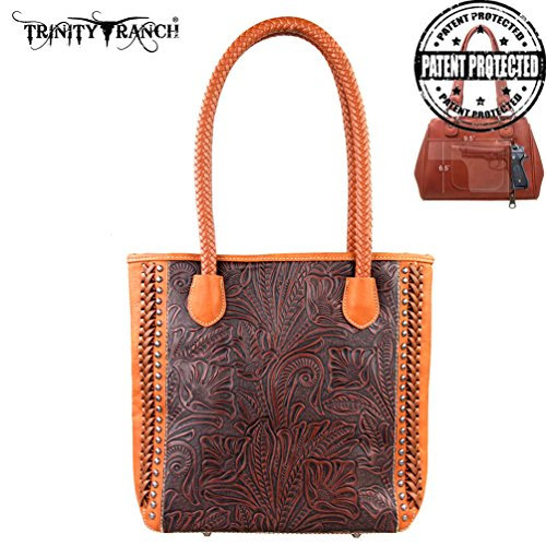 Tr25g-8561 Montana West Trinity Ranch Tooled Design Concealed Handgun Collection Handbag-brown