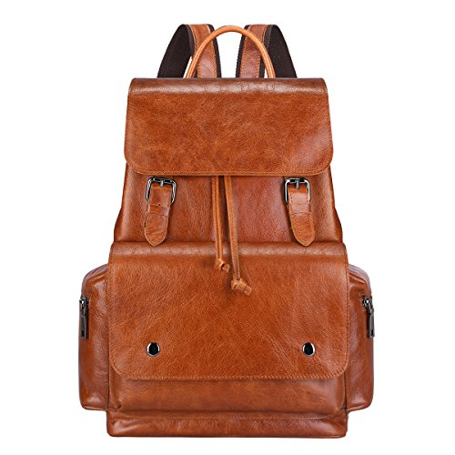 S-ZONE Women s Daily Genuine Leather Casual Backpack Bag Sorrel