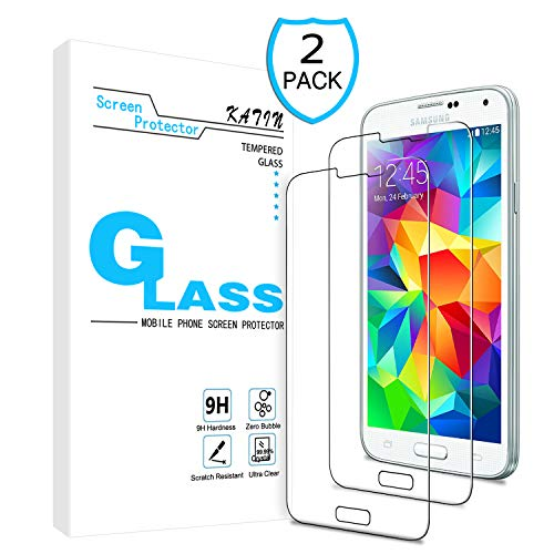 KATIN Galaxy S5 Screen Protector - [2-Pack] Tempered Glass for Samsung Galaxy S5 Screen Protector 9H Hardness with Lifetime Replacement Warranty (Best Screen Protector For Galaxy S5)