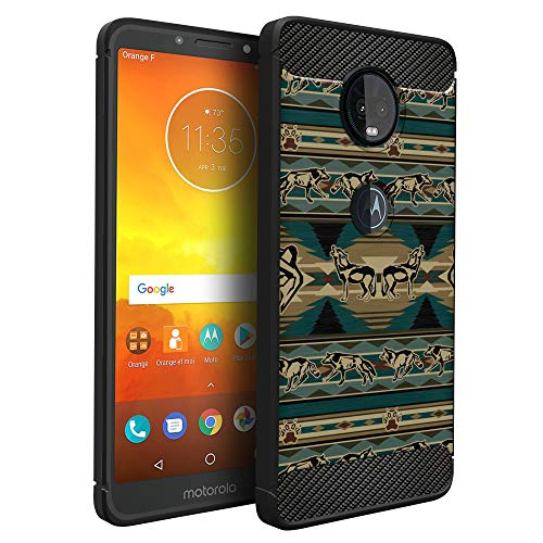 CasesOnDeck Case Compatible with [Motorola Moto G6 Play | Moto G6 Forge] Moto G6 Play Design Case, Slim Black Flexible Sleek Shock Protection TPU Case (Green Wolf Tribal) ()