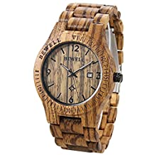 BEWELL Coffee Color Maple Wooden Men watches Quartz wood Watch With Calendar