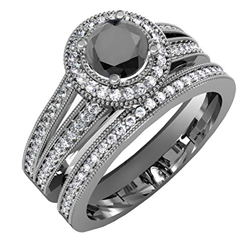 - Dazzlingrock Collection 1.25 Carat (ctw) Black Rhodium Plated 10K White and Black Diamond Bridal Ring Set, White Gold, Size 8.5