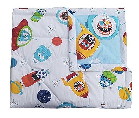 J-pinno Cute Cartoon Planet Spaceship Rocket Printed Twin Comforter Lightweight Cotton Throw Blanket for Kid's Bedroom Decoration (Rocket Twin Bedding)