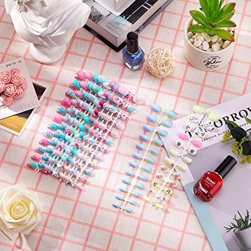 240 Pieces 12 Sets Children Nail Kid False Nail Pre-glue Full Cover Fake Nail Girl Fake Fingernail Artificial Nail Tip Cartoon Press on Fake Nail Gradient Short Nail Tip for Girls (Ocean Pattern)