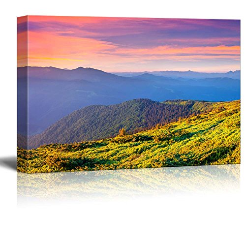 Landscape Colorful Summer Sunrise in the Carpathian Mountains Wall Decor ation