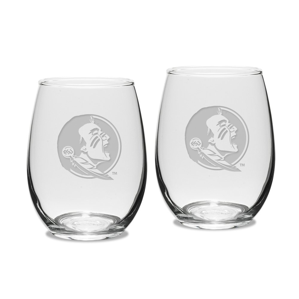 NCAA Florida State Seminoles Adult Set of 2 - 15 oz Stemless Wine Glass Deep Etched Engraved, One Size, Clear