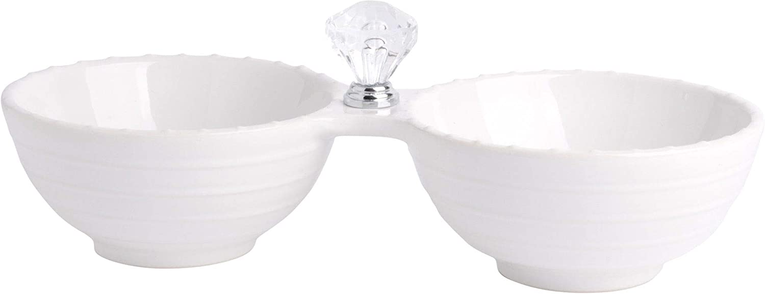 Home Essentials 15115 2-Section Dish with Crystal Knob, White