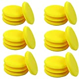 4 inch Dia Round Shaped Waxing Polish Sponge Wax Applicator Pads, Yellow (Pack of 24)